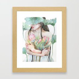 Lena Holding Proteas and Surrounded by Lotus Leaves Framed Art Print