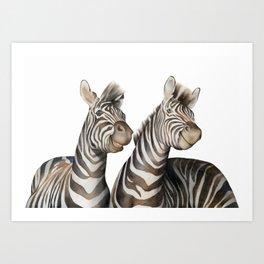 Zebras Watercolor Art Print