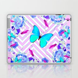 Turquoise Blue Butterflies Morning Glories Abstract Pattern Laptop & iPad Skin