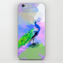 Peacock Dream - peacock painting, animal illustration, colorful iPhone Skin