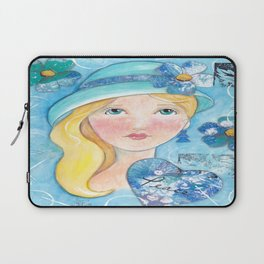 Whimiscal Girl in Blue Laptop Sleeve