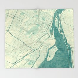 Montreal Map Blue Vintage Throw Blanket