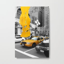 NYC Yellow Cabs Avenue - Brush Stroke Metal Print