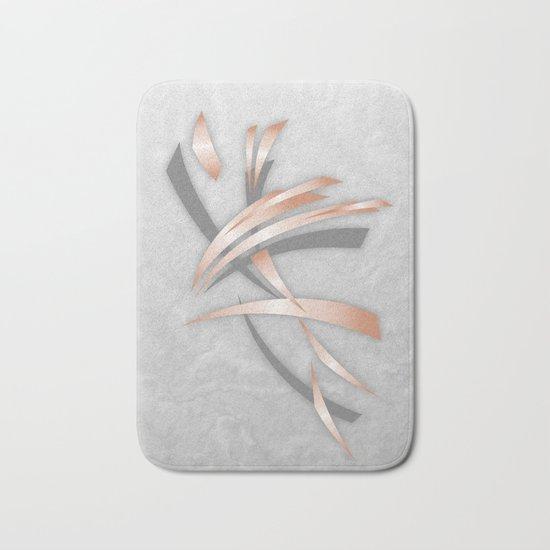Rose Gold Gray Marble Abstract Bath Mat