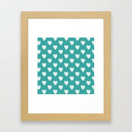 Pretty white love hearts on Teal Framed Art Print