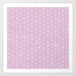 Shibori kanoko white dots over pink Art Print