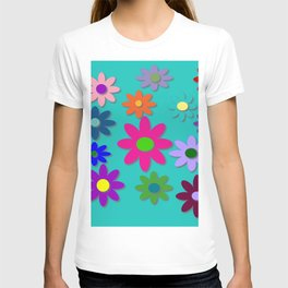 Flower Power - Teal Background - Fun Flowers - 60's Style - Hippie Syle T-shirt