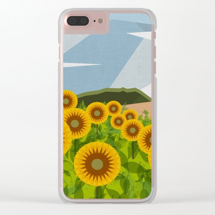 SUNFLOWERS (geometric flowers abstract) Clear iPhone Case