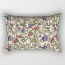Floral with Watering Can Rectangular Pillow