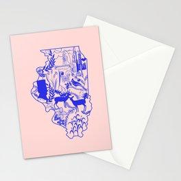 Illinois Wycinanki Pink and Blue Stationery Cards
