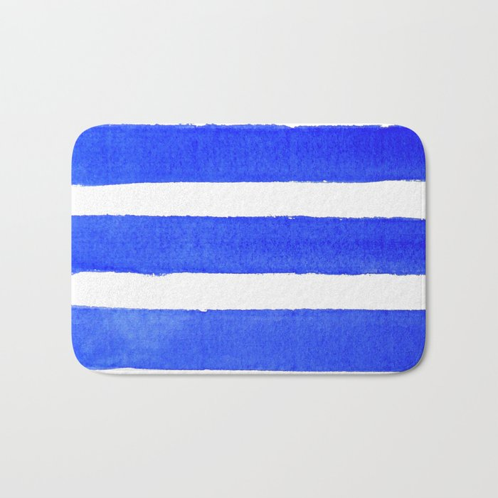 Watercolor Stripes of Blue Bath Mat