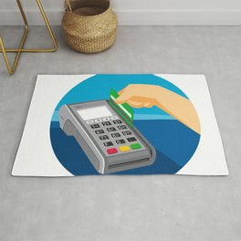 Hand Swiping Credit Card on POS Terminal Retro Rug
