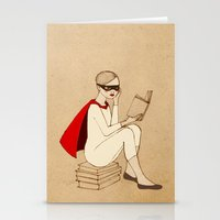 superhero Stationery Cards featuring Superhero reader by Irena Sophia