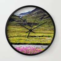 sweden Wall Clocks featuring SWEDEN PINK by Hail Of Whales