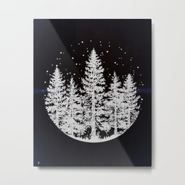 Trees in a Winter Forest Metal Print