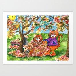 Cats Raking Autumn Leaves Art Print