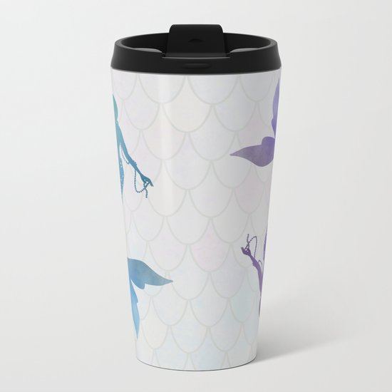 blue & purple mermaid Metal Travel Mug
