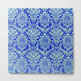 Blue damask,vintage,elegant,chic,floral,victorian,belle epoque,art nouveau, art deco, modern,trendy, Metal Print