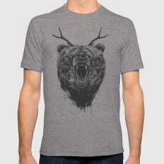 Angry bear with antlers 2X-LARGE Mens Fitted Tee Tri-Grey