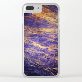 Classic Vintage Purple Faux Marble With Gold Veins Clear iPhone Case