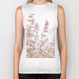 Soft Pink Wild Summer Flowers Biker Tank