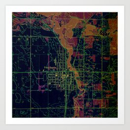 Park Rapids old map year 1969, united states old maps, colorful art Art Print