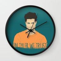 tyler durden Wall Clocks featuring In Tyler we trust by Eveline