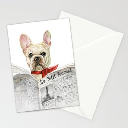 French bulldog with newspaper, bonjour Stationery Cards