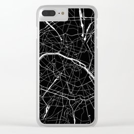 Paris France Minimal Street Map - Black on White Clear iPhone Case