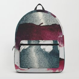Disrupt: a minimal, abstract mixed media piece with bold strokes of magenta on blue Backpack