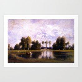 Trois Pignons and Fontainebleau Forest, Paris, France landscape by Gilbert Munger Art Print