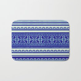 nordic pattern with singing birds in blue Bath Mat