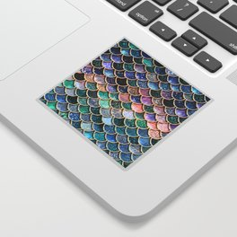 Multicolor Pink And Aqua Mermaid Scales - Beautiful Abstract Glitter Pattern  Sticker
