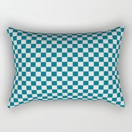 Pale Blue and Tropical Dark Teal Small Checker Board Pattern Inspired by Sherwin Williams 2020 Trending Color Oceanside SW6496 Rectangular Pillow