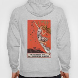 Russian May Day celebration poster in English Hoody