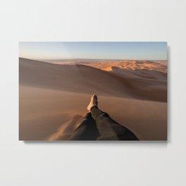 On top of the highest dune. Merzouga, Morocco. Metal Print