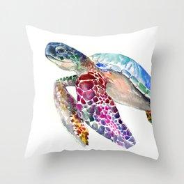 Sea Turtle, swimming turtle art, purple blue design animal art Throw Pillow
