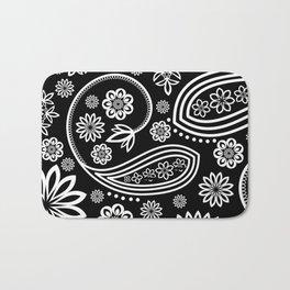 Oriental Persian Paisley, Dots - Black White Bath Mat