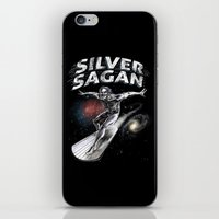 carl sagan iPhone & iPod Skins featuring Silver Sagan by The Cracked Dispensary