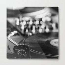 dj turntable record music aesthetic close up elegant mood art photography  Metal Print