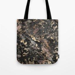 Gold Vein Black Marble Design Tote Bag