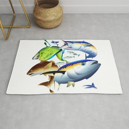 Dolphin, Wahoo, Red Drum and Tuna Rug