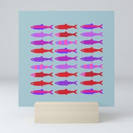 Colorful fish school pattern Mini Art Print