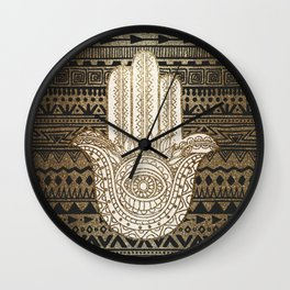 Native Pattern Golden Hamsa Hand Wall Clock