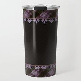 Brown plaid, plaid blanket, brown pattern, patchwork, folklore, rustic style, elegant pattern, plaid Travel Mug