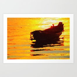 Boat at sunset - Acrylic & Palette Knife Paint on Canvas Art Print