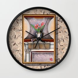 DW-007 Day Lilies With Nautilus Wall Clock