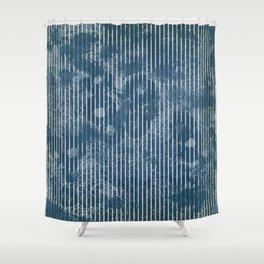 White stripes on grunge textured blue background Shower Curtain