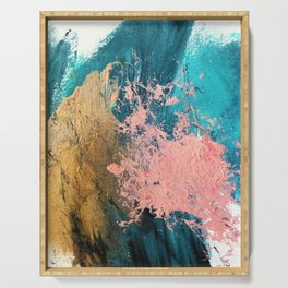 Coral Reef [1]: colorful abstract in blue, teal, gold, and pink Serving Tray
