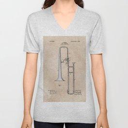 patent Hankey Slide Trombone 1902 Unisex V-Neck